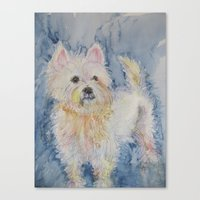 westie Canvas Prints featuring Cute Westie by Gina Rahman