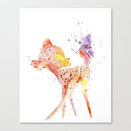 Bambi Meets Butterfly Canvas Print