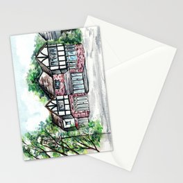 English Tudor-Style House, Watercolour Painting Stationery Cards