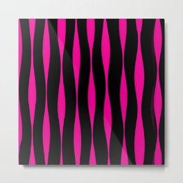 Wavy Pattern (Pink+Black) Metal Print