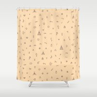 alchemy Shower Curtains featuring Sequence 14 - Alchemy by Rhythm and Repeat