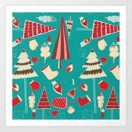 Vintage Christmas Teal Art Print