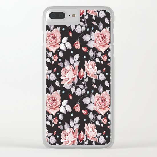 Vintage Pink Rose Flowers Clear iPhone Case