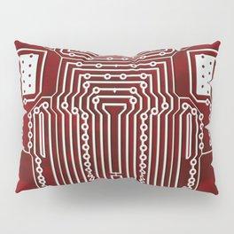 Red Geek Motherboard Circuit Pattern Pillow Sham