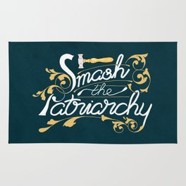 Smash the Patriarchy Feminist Art Nouveau Calligraphy Illustration Rug