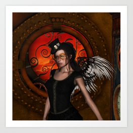 Wonderful steampunk lady with wings and hat Art Print