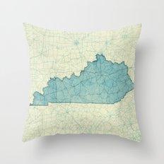 Kentucky State Map Blue Vintage Throw Pillow