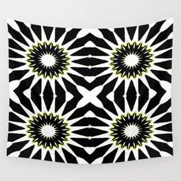 Black White Yellow Pinwheel Flowers Wall Tapestry