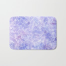 Lavender and white swirls doodles Bath Mat