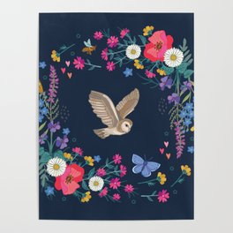 Owl and Wildflowers Poster