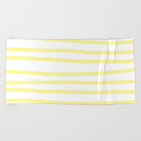 Simply Drawn Stripes in Pastel Yellow Beach Towel