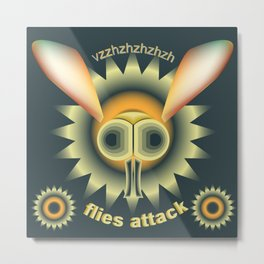 "Illustration poster ""Flies attack"" Metal Print"