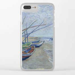 Vincent van Gogh -   Fishing Boats on the Beach at Les Saintes-Maries-de-la-Mer, 1888 Clear iPhone Case