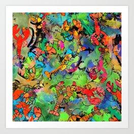 Grunge Lobsters Art Print