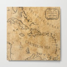 Old Nautical Map Carribeans Metal Print