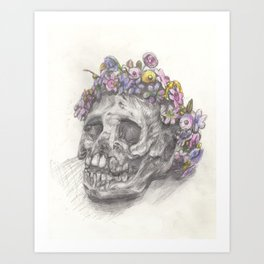 Skull With A Flower Crown - Drawing Art Print