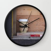 cigarettes Wall Clocks featuring Cigarettes and coffee by RMK Creative