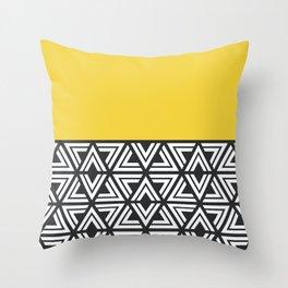 Black, White and Yellow Geo Throw Pillow