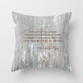 SERENITY PRAYER: BROWN BARN Throw Pillow