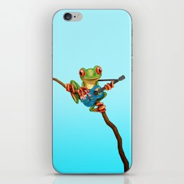 Tree Frog Playing Acoustic Guitar with Flag of Turks and Caicos iPhone Skin