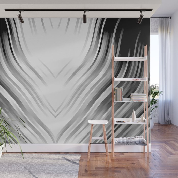 stripes wave pattern 3 bwi Wall Mural