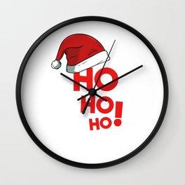 Ho Ho Ho Christmas Xmas Winter Holidays Santa Claus Hat Wall Clock