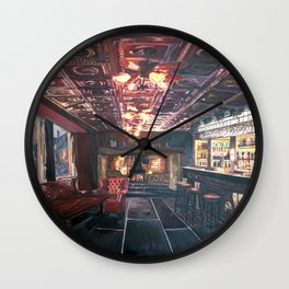 Romantic Night at Rustic Fireside Bar Scene with Village Street View Wall Clock