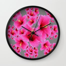 CHARCOAL GREY GIRLY PINK HIBISCUS GARDEN ART Wall Clock