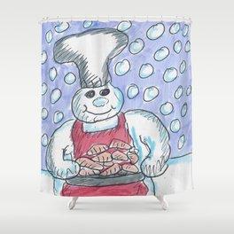 Christmas #2 Snow Carrots Shower Curtain