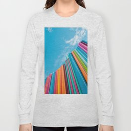 Colorful Rainbow Pipes Against Blue Sky Long Sleeve T-shirt