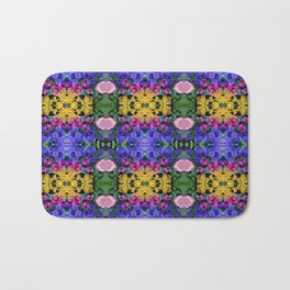 Floral Spectacular: Blue, Plum, Gold - square repeating pattern, Olbrich Botanical Gardens, Madison Bath Mat