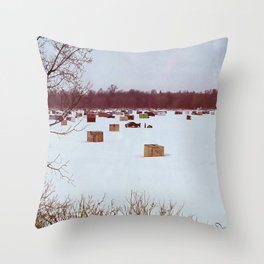 Ice Fishing Village Throw Pillow