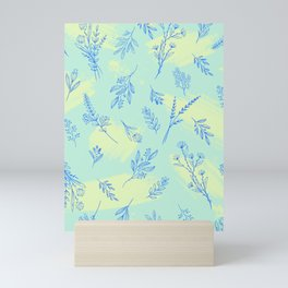 Vintage Floral Line Art Pattern Over Brushstrokes Mini Art Print