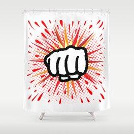 Red And Yellow Cartoon Splash Fist Punch Shower Curtain