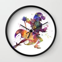 captain hook Wall Clocks featuring Captain Hook in watercolor by Paulrommer
