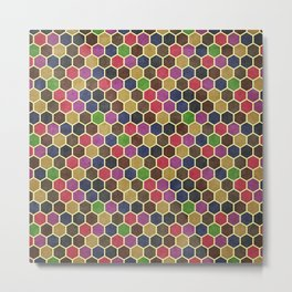 Colorful Seamless Hexagon Geometric Pattern Metal Print