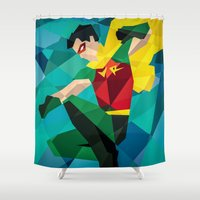 dc comics Shower Curtains featuring DC Comics Robin by Eric Dufresne