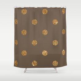 Umber Gold Glitter Dot Pattern Shower Curtain