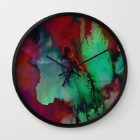 fifth element Wall Clocks featuring Element by Amy Sia
