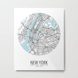 New York City Map of the United States - Circle Metal Print