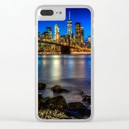 Manhattan Skyline and Brooklyn Bridge Clear iPhone Case