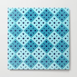 geometric blue pattern Metal Print