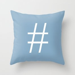 number sign on placid blue color background Throw Pillow