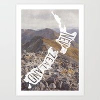 new zealand Art Prints featuring NEW ZEALAND by cabin supply co