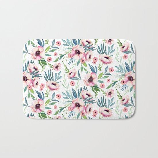 Flowers in Bloom Pattern Bath Mat