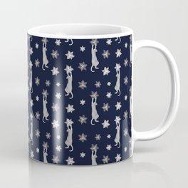 Cats Climbing Flowers Navy Blue Coffee Mug