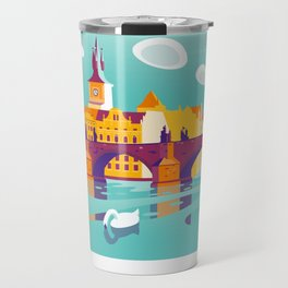 Prague and swans Travel Mug