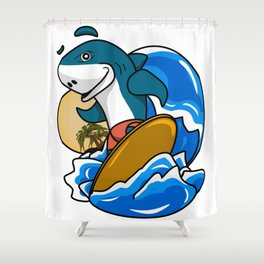 Stylized 3d illustrations,Surfing shark. Shower Curtain