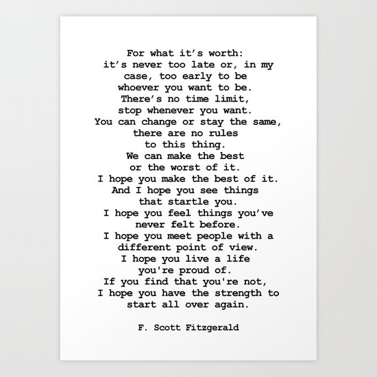 For what it's worth by F Scott Fitzgerald #minimalism #poem by andreaanderegg