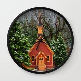 Christmas At Yosemite Chapel Wall Clock